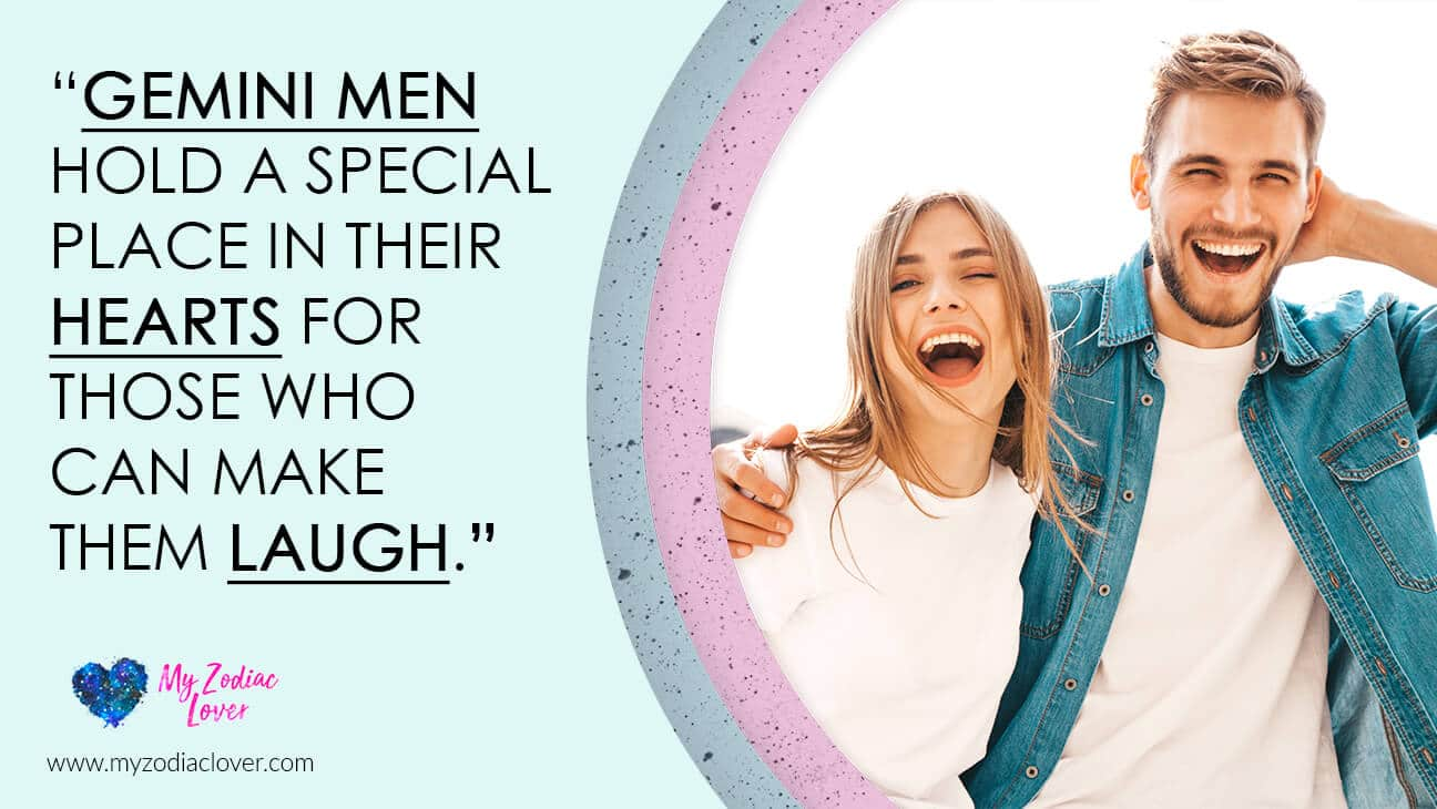 picture of happy couple laughing with a quote about how to keep a gemini man happy with laughter